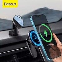 Baseus מגנטי אלחוטי רכב מחזיק רכב הר מטען לוח מחוונים אוויר חנויות טלפון מחזיק עבור iPhone 12 סדרת מהיר מטען