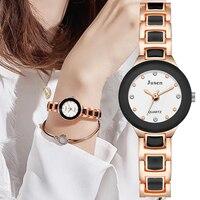Simple Elegant Women Fashion Watches Diamond Luxury Stainless Steel Ladies Quartz Watch Qualities Black and white Dial Female