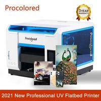 Procolor-새로운 UV 잉크젯 프린터, A3 전문 인쇄 기계 전화 케이스 나무 아크릴 병 티셔츠 DTG 인쇄, 2021