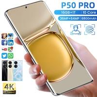 7,3 zoll HAUWEI P50 PRO Smartphone 5G 16GB + 512GB 6800mAh 64MP Kamera Entsperrt Handys telefon Celulares Handys