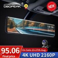OBDPEAK H6 4K Auto Video Recorder 12'' Rückspiegel Auto Dvr IMX415 3840*2160P Dash Cam mit GPS Nachtsicht Reverse Kamera