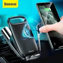 Baseus אלחוטי מכונית טלפון בעל 15W טעינה מהיר Stand עבור Samsung Iphone 11 פרו מקס טלפון הר הכבידה אוטומטי תמיכה