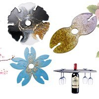 DIY 크리스탈 에폭시 수지 몰드, 와인 트레이, 와인 글라스 홀더, 벚꽃, 불규칙한 코스터 거울 표면, 수지용 실리콘 몰드