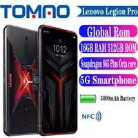 Globale rom Lenovo Legion Pro 5G Gaming Telefon 144Hz Bildschirm Snapdragon 865 + Octa Core 6.65 ''64MP kamera 5000mAh 90W Kompressor