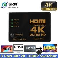 HDMI-Kompatibel Schalter 4K Switcher 3 in 1 heraus HD 1080P Video Kabel Splitter 1x3 hub Adapter Konverter für PS4/3 TV Box HDTV PC