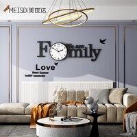MEISD 자기 접착제 벽 시계 현대 가족 디자인 벽 시계 크리 에이 티브 Horloge DIY 미러 스티커 아트 포스터 음소거 무료 배송