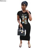 CM. יאיא נשים שחור מלכת ספייד Q מכתב הדפסת Bodycon Midi מקסי שמלת וינטג אופנה ארוך עיפרון טי שמלות Vestidos