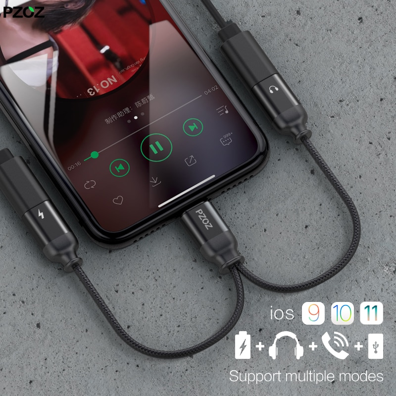 Adaptador PZOZ para iphone, cargador de cable de audio 2 en 1, cargador de auriculares para iphone X 7 8 Plus, convertidor aux de música para auriculares