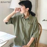 Shirts Women Pocket Simple Retro Half Sleeve Female Harajuku Hot Sale Ins Basic Tunic Tops Daily Popular Chic Preppy Style Loose