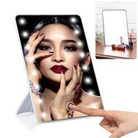 Ruimio 메이크업 거울 8/16 led와 함께 화장품 거울 터치 조 광 기 스위치 배터리 탁상 욕실 여행을위한 스탠드