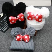 2021 New Cute Polka Dot Cartoon Big Bow Elastic Baby Hat Children's Knit Cotton Beans Autumn Winter Warm Girl Double Pompom Cap