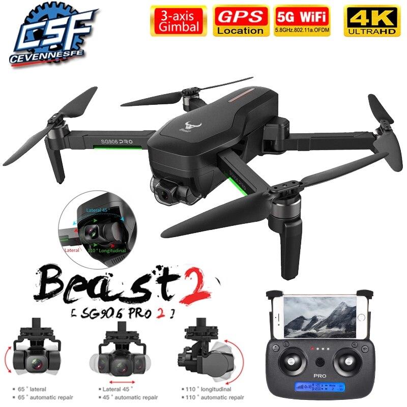 Dron SG906 MAX/Pro2 con GPS, Wifi, FPV, 4K, cámara de tres ejes, cardán sin escobillas, profesional, Quadcopter, evitación de obstáculos