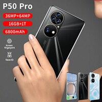 Globale Version P50 Pro 7,3 Zoll Wasser Tropfen Bildschirm Android 12,0 Smartphone 16GB RAM 512GB ROM 36MP + 64MP 6800mAh Dual Sim 5G Telefon