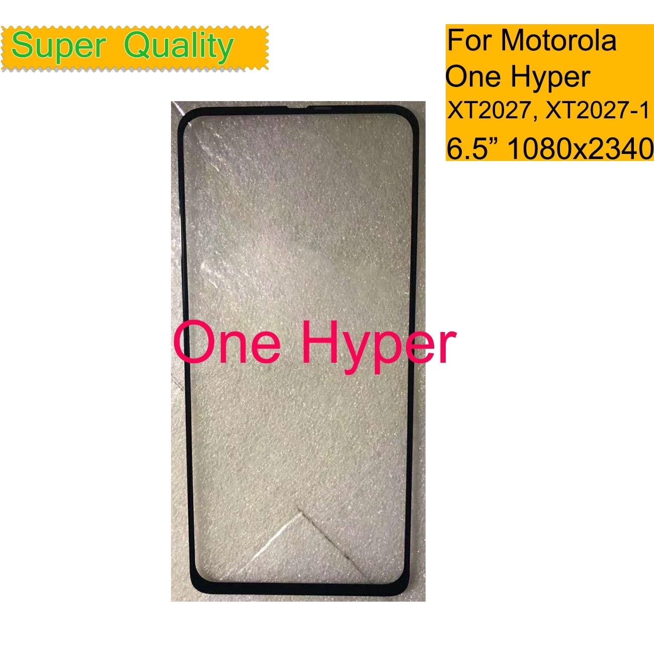 10 unids/lote para Motorola Moto una Hyper XT2027 XT2027-1 pantalla táctil Panel frontal exterior Hyper pantalla de la lente de cristal con OCA pegamento