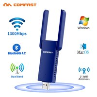 USB Wifi Adapter 1300Mbps 5Ghz Bluetooth Kompatibel 4,2 Ethernet 2 * 3dbi Antenne PC Wi-fi für Computer BT 4,2 musik Empfänger Karte