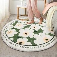 Flower Round Carpet Lamb Cashmere Non-Slip Carpet Sofa Tatami Bedside Floor Mat Rugs Baby Crawling Mat Kids Living Room Bedroom