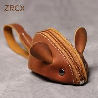 ZRCX אמיתי עור קטן מטבע ארנק יצירתי יפה עכברוש רוכסן מפתח מקרה גברים נשים נייד מפתח ארנק לילדי של מפתח שקיות