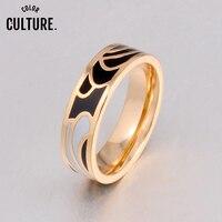 Anel de esmalte clássico feminino, anel de aço inoxidável com múltiplas cores pcjz019