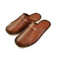 Luxury Cow Split Leather Handmade Men Home Slippers Spring Slip On Soft Comfortable Black Brown Bedroom Indoor Flat Men Shoes