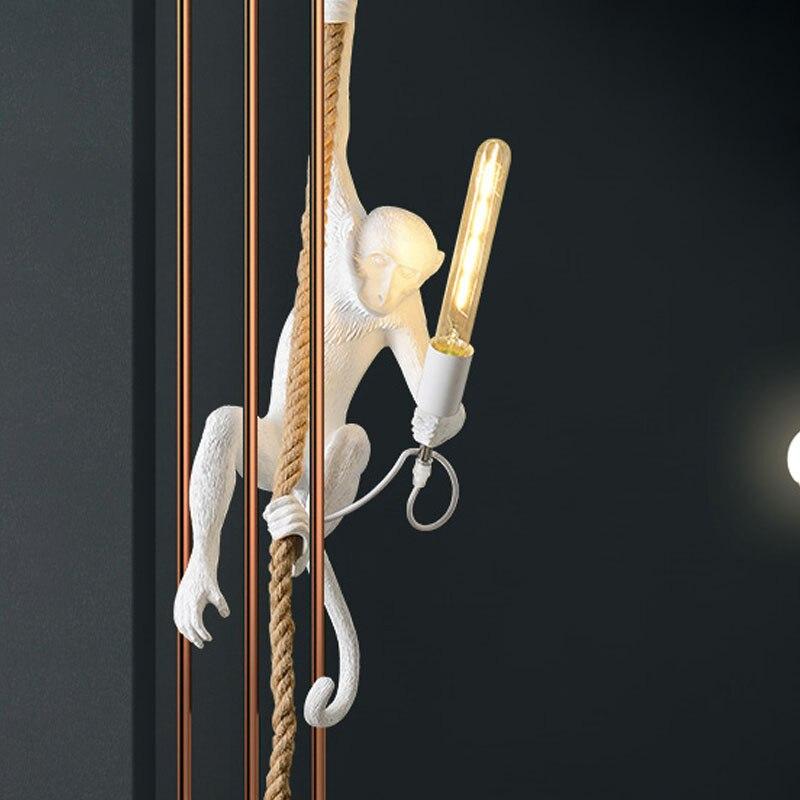 Moderne Affe Lampe Anhänger Lichter LOFT Seil Kunst Nordic Repliken Harz Hängen Anhänger Lampe Leuchte Indoor Dekoration Beleuchtung