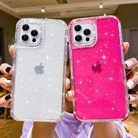 Coque scintillante antichoc pour iPhone, compatible modèles 13, 12, 11 Pro Max, XR, X, XS Max, 7, 8 Plus, 12, 11 Pro, transparente, souple