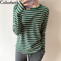 Colorfaith New 2021 Women's Spring Autumn T-shirt Bottoming Basic Korean Style Fashionable Striped Wild Lady Vintage Tops T6331