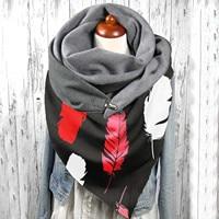 Ladias צעיפי 4 алаклава חיג 'אב אופנה ינשוף הדפסת צעיף נשים גלישת לחצן מקרית חם Ladias צעיפי חם חורף Dropshipping