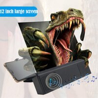 3X 4X 스크린 앰프 12 인치 대형 스크린 블루투스 오디오 USB 충전식 전화 화면 돋보기, 모바일 스크린 앰프