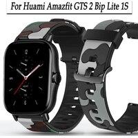 Huami Amazfit GTS 2 Bip 1S Lite gtr용 20mm 시계 스트랩, 42mm 밴드, 스포츠 손목 밴드, gts2, 카모플라주 패턴 시계 밴드