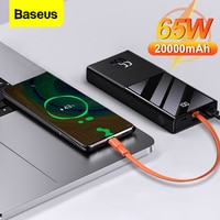 Baseus 65w banco de potência 20000mah portátil pd carregador rápido powerbank telefone bateria externa para macbook ar notebook iphone xiaomi