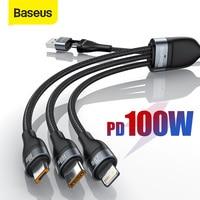 Baseus 3 in 1 2 USB Typ C Micro Kabel für Xiaomi Poco X3 Redmi Huawei PD 100W Schnelle lade Draht Kabel für iPhone 12 11 Pro Max