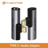 CABLETIME USB Typ C zu Audio 3,5mm Adapter Kopfhörer Kopfhörer Analog signal Für Xiao mi Huawei Typ-C OTG USB-C C018