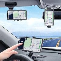 ANMONE לוח מחוונים רכב מחזיק טלפון 360 תואר טלפון נייד עומד Rearview מראה מגן שמש במכונית GPS ניווט סוגר