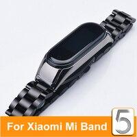 스트랩 Mi Band 5 4 금속 스테인레스 스틸 스트랩 Xiao mi Mi Band 4 5 팔찌 Mi Band5 Band4 교체 Mi 5 Mi 4 밴드