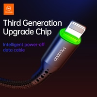 Mcdodo 3Aケーブル自動切断携帯電話充電器は、高速データコードスマート自動切断ケーブルiphone 12 11 × プロ