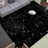 Bright Stars Moon Area Rugs Anti Slip Night Scene Floor Mats Large Home Doormat Living Room Bedroom Bathroom Decor Print Carpet