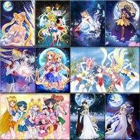 יהלומי ציור קלאסי יפני אנימה Cartoon סיילור מון מלא יהלומי רקמת יהלומי פסיפס בית תפאורה