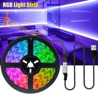 DC5V Desk BackLight 5M LED Strip Lights RGB 2835 Decoration USB Cable 3Key Control Flexible Lamp Tape Diode Ribbon Lighting