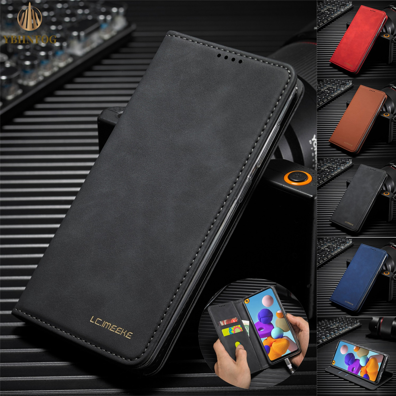 Funda de teléfono de negocios de lujo para Huawei P30 Lite, P30 Pro Nova 4E, soporte magnético, ranuras para tarjetas, Funda de cuero con tapa