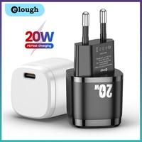Elough USB Typ C Ladegerät 20W Tragbare USB C Ladegerät Unterstützung Typ C PD Schnelle Lade Für iPhone 12 pro Max 11 Mini 8 Plus 2021
