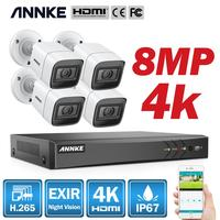 ANNKE 4K Ultra HD Video Überwachung Kamera System 8CH 8MP H.265 DVR Mit 4PCS 8MP Outdoor Wetter Sicherheit kamera CCTV Kit