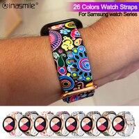 20mm 22mm 인쇄 실리콘 시계 밴드 삼성 갤럭시 워치 3 41mm 45mm 기어 S2 S3 팔찌 스트랩 삼성 액티브 2 1, Samsung Galaxy Watch 3