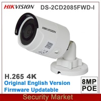 Original Hikvision Englisch DS-2CD2085FWD-I 8MP Netzwerk Kugel Kamera 4K POE H.265 + H.264 IR IP67 cctv kamera SD Karte slot