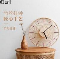 목가적 벽 시계, 일본 나무 심플 무음 벽시계, 정원 대나무 실크 목재 시계, 음소거 벽걸이 시계 5
