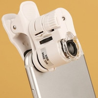 1pc 60X Handy Mikroskop Lupe mit LED Licht Telefon Universal Mobile Lupe Makro Objektiv Zoom Kamera Clip