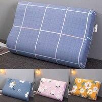 Latex Pillow Cases Strip Plaid Soft Cotton Zipper Type Pillowcase Comfortable Bedroom Sleeping Memory Foam Cushion Cover