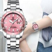 Luksusowe panie oglądać 2021 ze stali nierdzewnej zegarki wodoodporne kobiety mody zegarek różowy niebieski zielony Dial kobiety oglądać bezpłatną wysyłkę