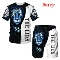Men's clothing 2021 new 3D digital printed lion tiger t shirt shorts men's suit