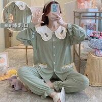 Cotton Pajamas for Pregnant Women Spring Autumn Pineapple Long Sleeve Cardigan Confinement Suit Postpartum Breastfeeding Winter