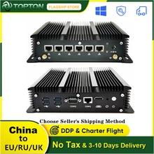 2021 10TH Gen Industrielle Mini PC Intel Core i5 10210U 6 Lans Firewall Router Pfsense Server 2 * RS232 4 * USB 3,0 HDMI 4G/3G AES-NI